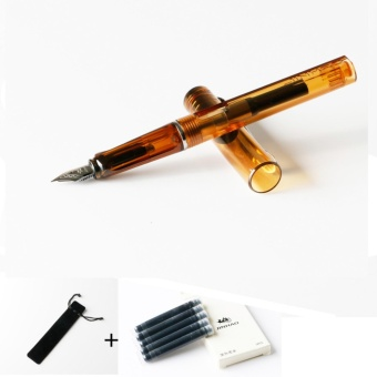 JinHao 599 Transparent Coffee Business Gift Writing 0.5mm Medium Nib Silver Clip Fountain Pen