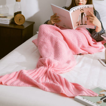 LaVie Knitted Mermaid Tail Blanket Handmade Crochet Soft Sleeping Blankets(Pink)-50*90CM - Intl