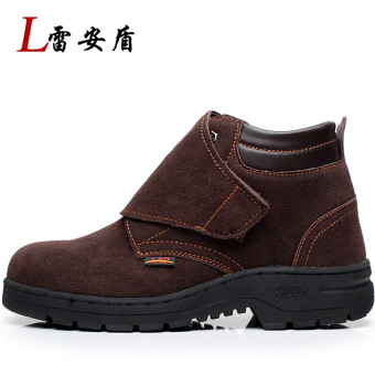 Leather site old security and anti-smashing safety work shoes safety shoes