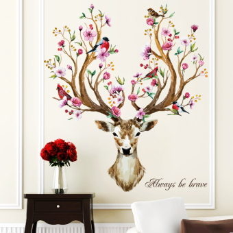 Meihua deer living room bedroom TV backdrop wall stickers