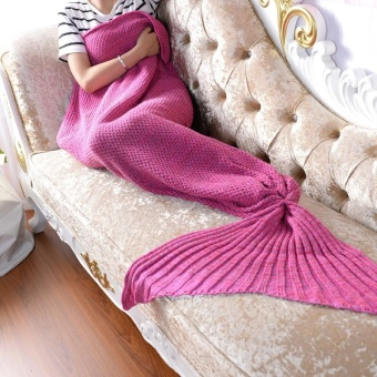 Mermaid Blanket for Baby Mermaid Tail Blankets Knitted HandmadeCrochet Mermaid Blanket Kids Throw Bed Wrap Super Soft Sleeping BedSleeping Bag 50X90CM - intl
