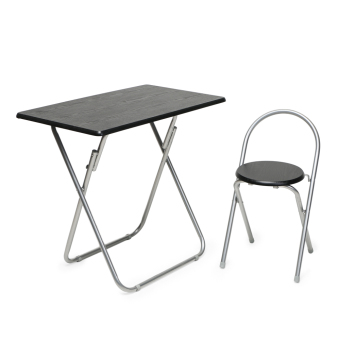 Modern Lifestyle Folding Table and Chair (Black)