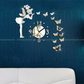 Modern Style Butterfly Fairy DIY Mirror Wall Clock Wall Sticker -intl