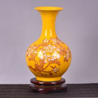 Modern Yellow peony small vase ceramic porcelain