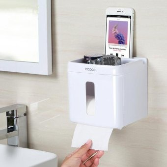 Multi-function Toilet Paper Holder Wall Mounted Bathroom TissueHolder with Phone Storage Shelf,Tissue Box - intl