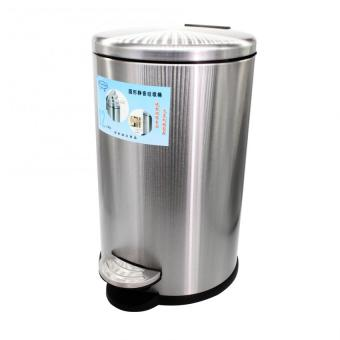PhoenixHub Round Trash Food Waste Garbage Can Bin Soft CloseBin(Silver) SRT-12B