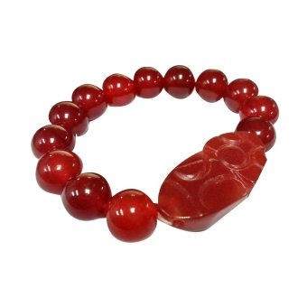 Pi Xiu Agate Dragon Feng Shui Charms Big Money Catching Bracelet(Red)