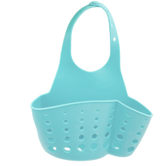 Plastic Kitchen Sink Drain Bathroom Hanging Storage Basket HolderShelf Organizer Bag for Kitchen and Bathroom Blue