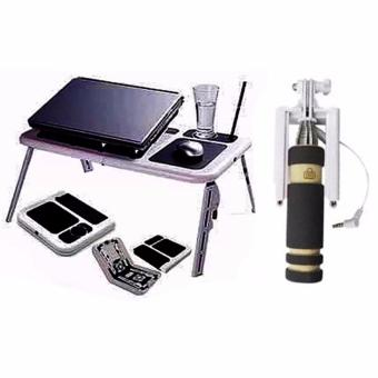 Portable Foldable Laptop E-Table With Cooling Fan with Mini Monopod