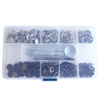 Portable Metal Press Snap Fasteners Buttons Set 11 Slots StorageBox Accesssory with Installation Tools Kit for Clothing Coats DownJacket Trench Coat Cowboy Bags - intl