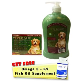 Prolific Madre de Cacao Organic Soap 130g and Madre de Cacao Specialized Shampoo 1000mL With Free Pure Deep Sea Fish Oil Omega 3 Supplement for Dogs and Cats 30 soft gels