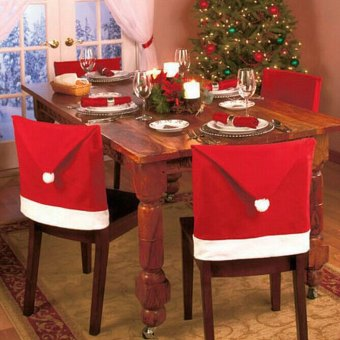 Santa Claus Hat Chair Cover Christmas Decoration for Party Holiday 6pcs(Red)