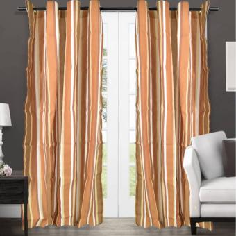 Set of 2 Grommet Block Out Panel Curtain Jacquard Textile