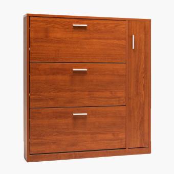 SM Home Wall-mounted 4-panel Shoe Cabinet (Oak)