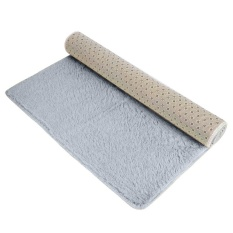 Ninror Velvet Indoor Morden Area Rugs Pads Living Room Bedroom Floor Carpet Silver And Gray