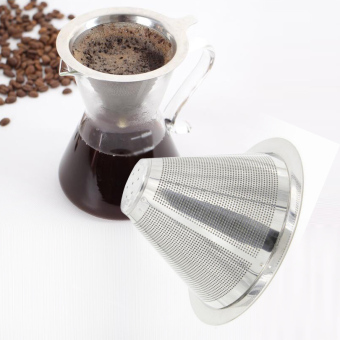 Stainless Steel Coffee Filter Coffee Dripper Pour Over Coffee Maker Drip Reusable Efficient separation Coffee Filter - intl