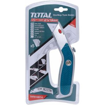 TOTAL 19mm Utility Knife Cutter with 5pcs blade extraTHT512614
