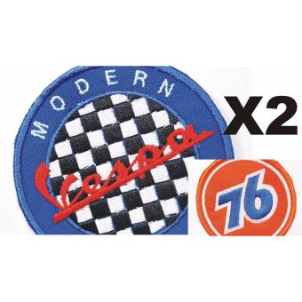 Vespa Modern Cloth Badge Patch & 76 Oil Patch Set (Get 2)