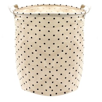 Wallmark Black Polka Dot Foldable Laundry Hamper Storage Basket