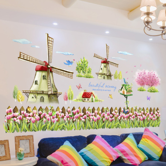 Warm pastoral bedroom living room sofa TV backdrop wall adhesive paper wall sticker