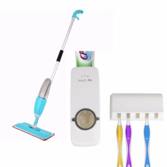 Water Spraying Mop Cleaner(Blue) with Hands-Free ToothpasteDispenser (White)