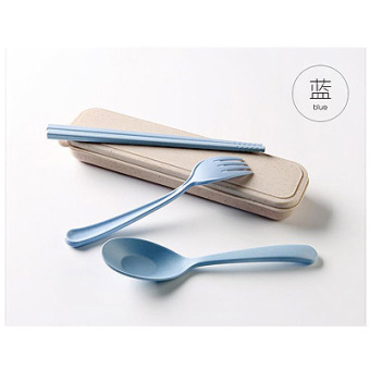Where the product Japan and South Korea wheat straw student fork spoon chopsticks portable tableware suit