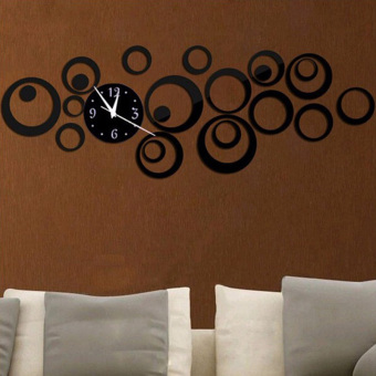 YBC 3D DIY Circle Acrylic Mirror Wall Clock Wall Decal Art Sticker Black - Intl