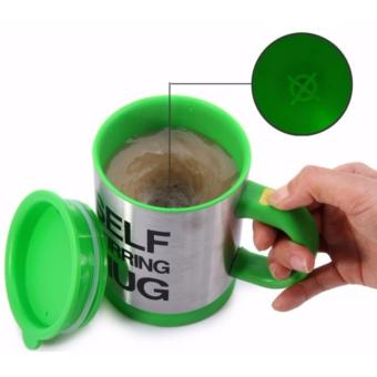 Zover Self Stirring Coffee Mug Milk Cup Stainless Steel CupBody(Green)