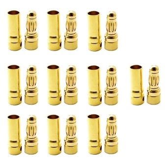 10 Pairs 3.5mm Male Female Gold Bullet Connector Plug For ESCBattery Motor Banana Plugs - intl