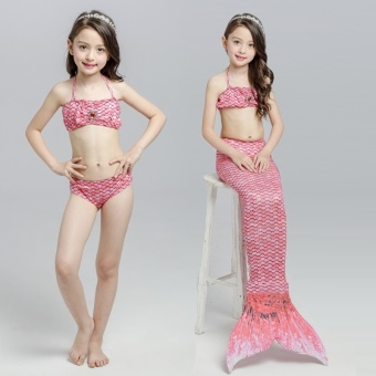 2017 Summer Girl Kids Mermaid Tail Swimwear Children Bikini BathingSuit Swimsuit Beach Wear (Pink) - intl