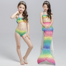 PHP 1.000. 3Pcs Set New Kids Girls Mermaid Tail Swimmable Bikini Set Swimwear Swim Costume Beach Wear - intlPHP1000