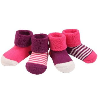4 Pair Cute Thickened Cotton Baby Socks Kids Boys Girls for 1-2Years Old Set Rose Red - intl