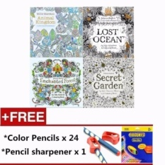 PHP 1500 4 Pcs 24 Photos Adults Children Graffiti Book Animal Kindom Andenchanted Forest And Lost Ocean Fantasy Dream Colouring