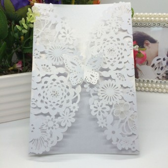 40 pcs Pearlescent Paper Invitation Cards for Party&Wedding Butterfly Flower Carved Pattern (White)