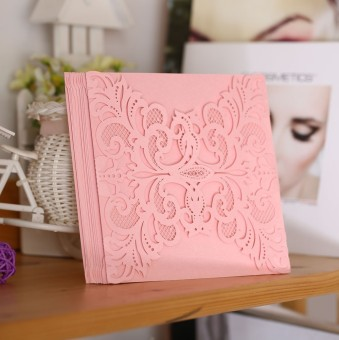 40pcs Creative Iridescent Pearl Paper Wedding Invitation Card Hollow Out Carved Crafts Card Wedding Party Favor (Pink)