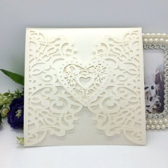 40pcs Iridescent Pearl Paper Wedding Invitation Card Hollow Out Heart Pattern (Beige) - intl