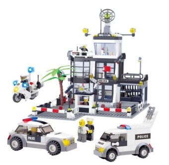 631pcs Large Size Police Station Building Blocks Compatible WithLEGO Police Cop Car Truck Bricks Toys