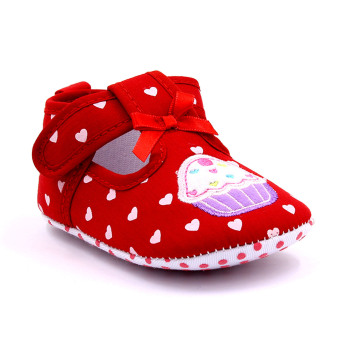 Baby Step Cupcake Hearts Baby Girl Shoes (Red)