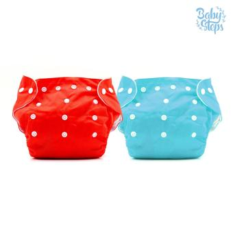 BABY STEPS Bicolor Red-Blue Cloth Baby Diapers