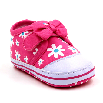 Baby Steps Floral Ribbon Baby Girl Shoes (Pink)