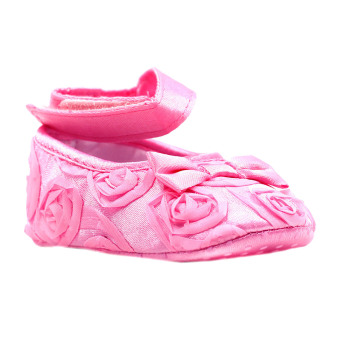 BABY STEPS Flossy Ribbon Baby Girl Shoes (Pink)