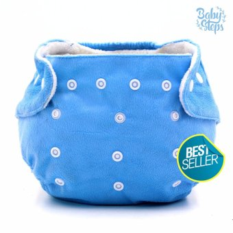 BABY STEPS Super Soft Cotton Cloth Baby Diapers (Blue)