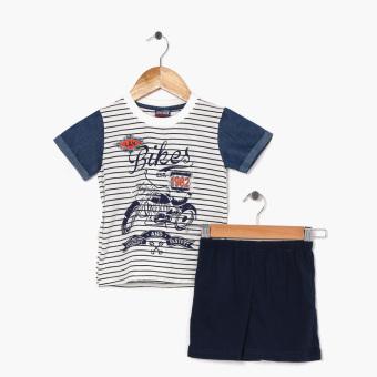 BGS Boys Bikes Est. 1982 Denim Sleeve Tee And Shorts Set (Cream)