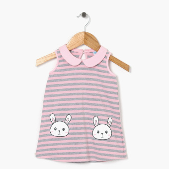 Crib Couture Girls Bunny Peterpan Collar A-Line Dress (Pink)