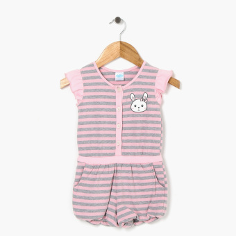 Crib Couture Girls Butterfly Sleeve Bunny Romper (Pink)