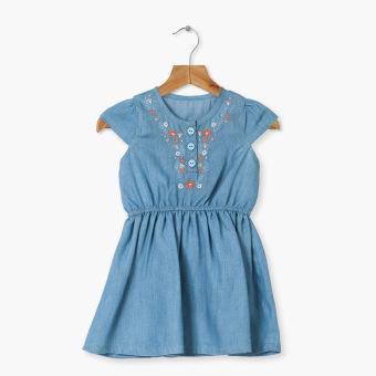 Crib Couture Girls Flowery Garter-Waist Chambray Dress (Blue)