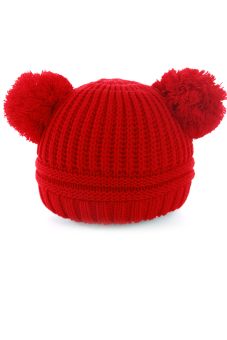 Crochet Knitted Cap Winter Warm Hat Cap Bobble Hat For 1 to 3 yearsold Baby Girls Boys Kids Red