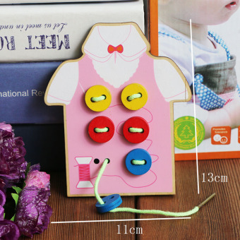 Educational Building Blocks wooden children's toys wear cord