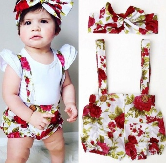 Floral Toddler Baby Girls Rose Shorts Pants Headband Summer Outfits Clothes 0-3Y (6-12 months) - intl