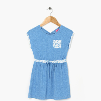 Girls Edition Girls Floral Pocket Peek-A-Boo Back Dress (Blue)